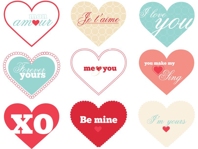 Universal image with printable valentine heart