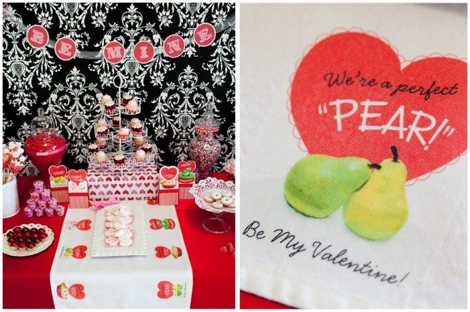 we're a perfect pear be my valentine table runner