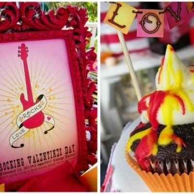 love rocks valentine's cupcakes and invitation