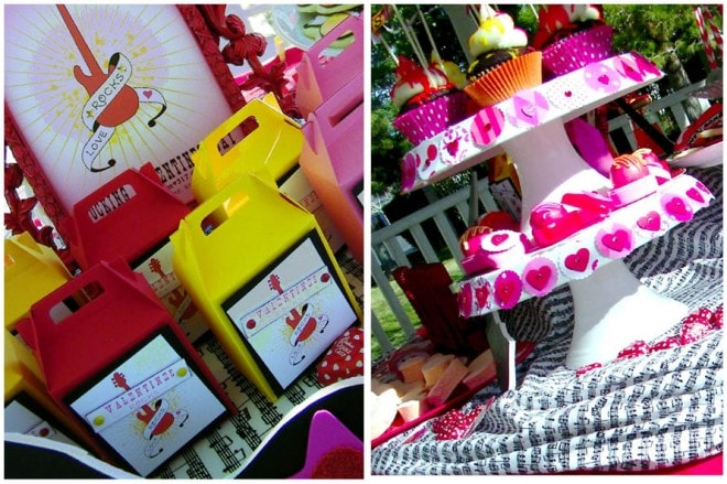mini gable boxes and cupcake stand