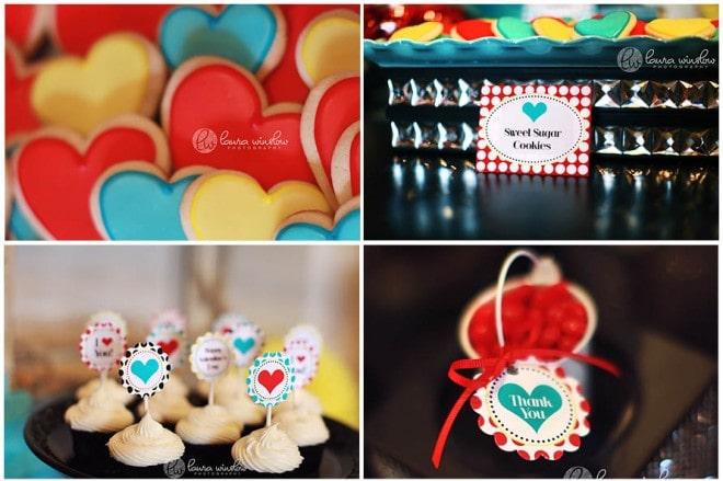 mod glam valentine's heart sugar cookies