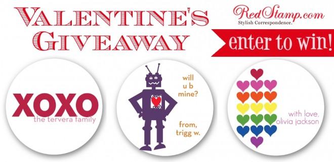 redstamp.com valentine's sticker giveaway on pizzazzerie