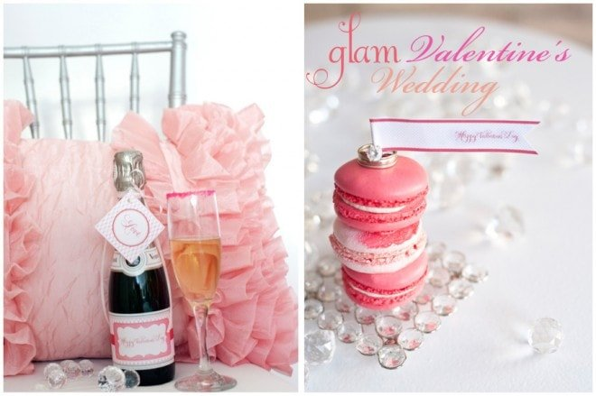 glam valentine's day wedding styled shoot