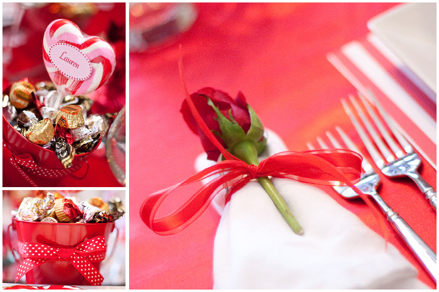red rose valentines dinner party napkin ring