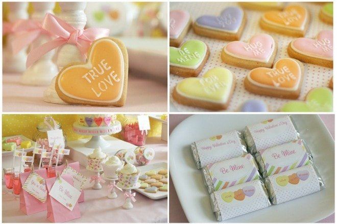 valentine's day conversation hearts cookies party