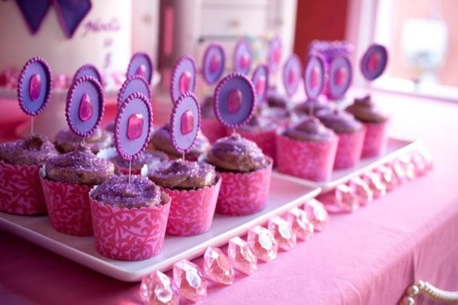pink jeweled cupcake toppers