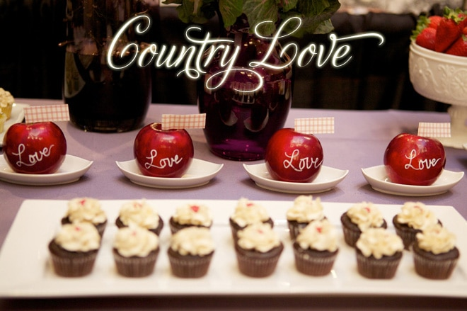 Country Love Plum and Red Table by dooby design