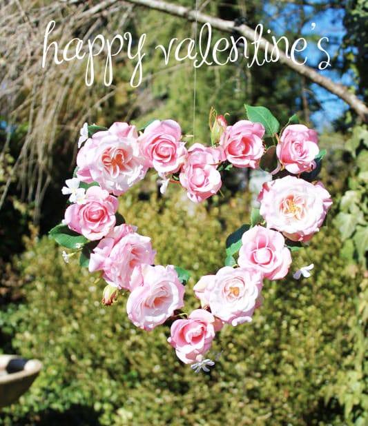 pink rose heart wreath