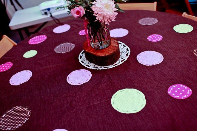 polka dotted tablecloth