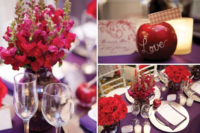 plum and red floral designs