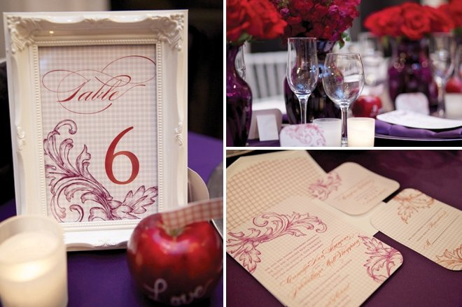 country plum and red tablescape