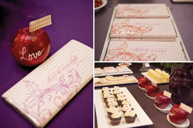 plum and red candy bar wrappers