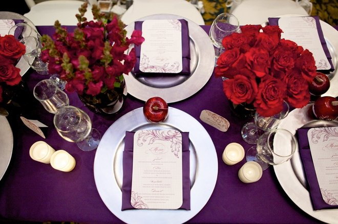 plum eggplant tablescape