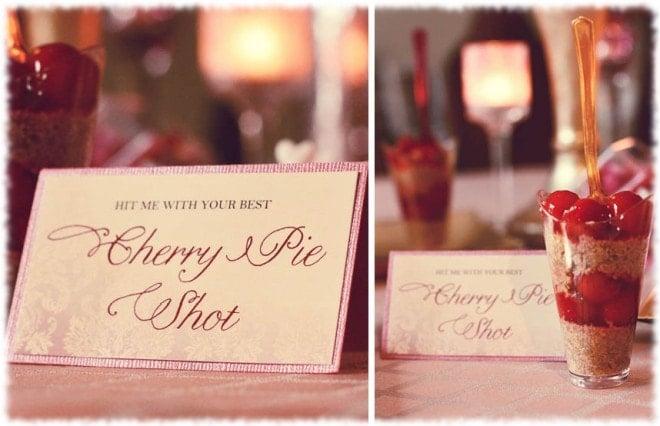 valentine's day mini cherry pie shots