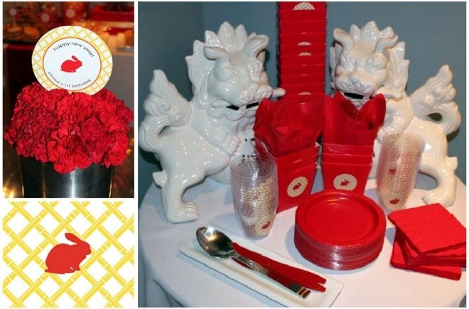 chinese new year party decorations table