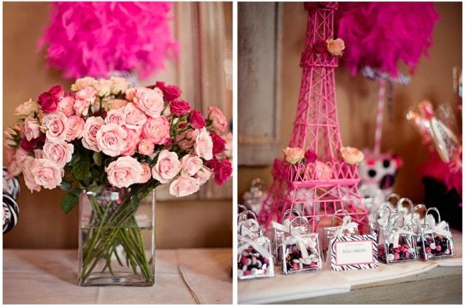 pink parisian florals and favors