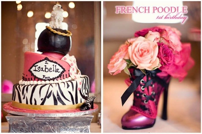 french poodle themed 1st birthday party for a little girl