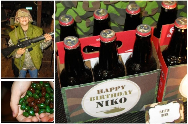 military man birthday party war paint ball