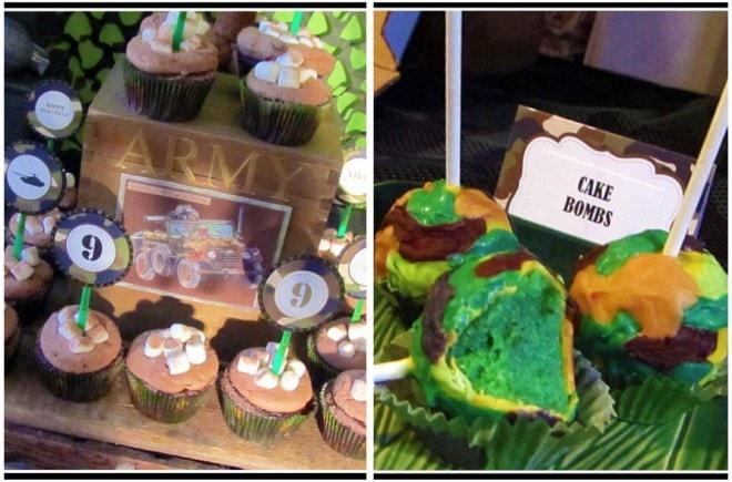 cake bombs, army cupcakes