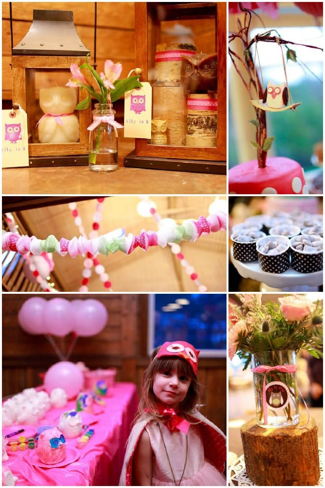 pink owl 5th birthday party pictures