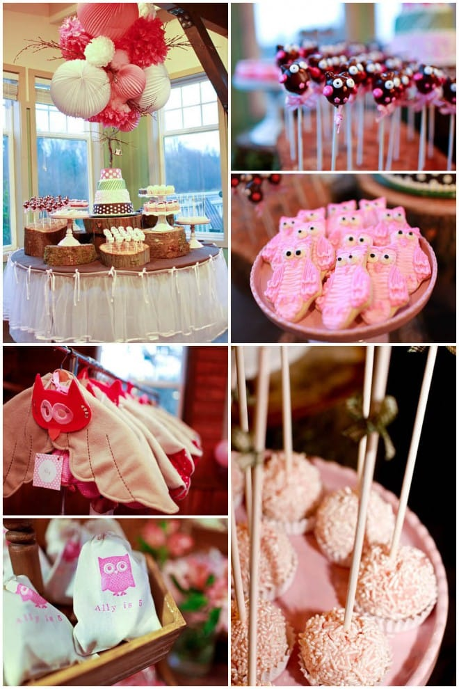 owl birthday party pink cookies
