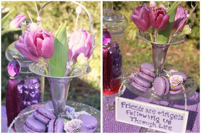 purple tulips and macaroons