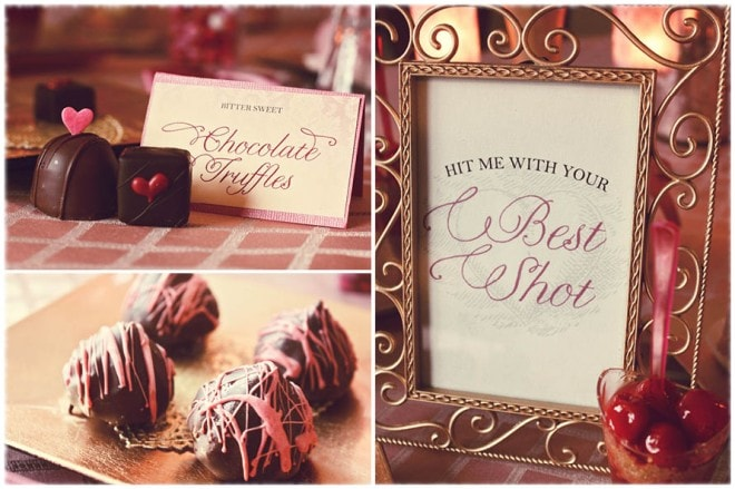 valentine's chocolate and pink desserts