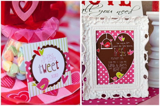sweet tweet valentine's party invitation