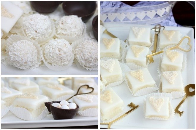 winter white coconut petit fours