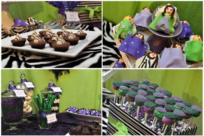 dessert candy table zebra purple and green