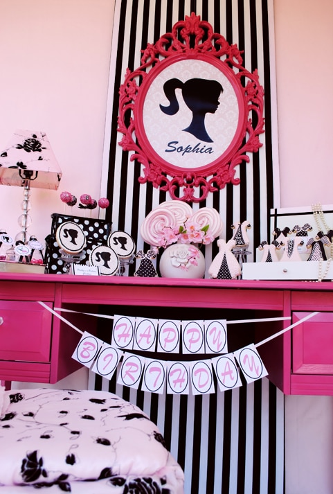 sweet barbie birthday banner