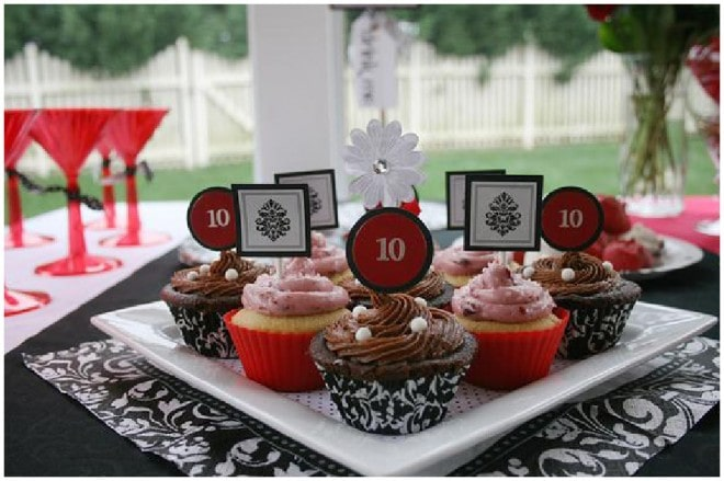 black and red damask cupcake toppers