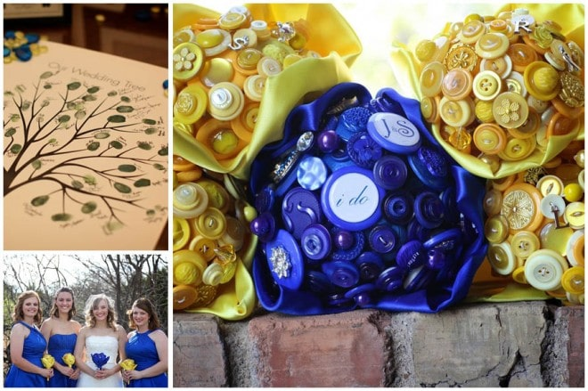 blue button bouquets
