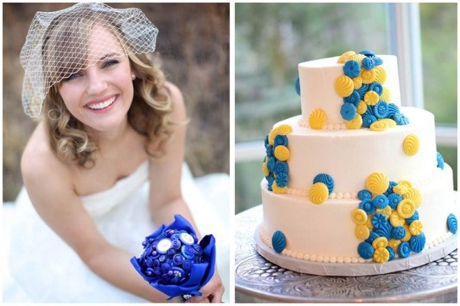 blue wedding bouquet and yellow blue cake