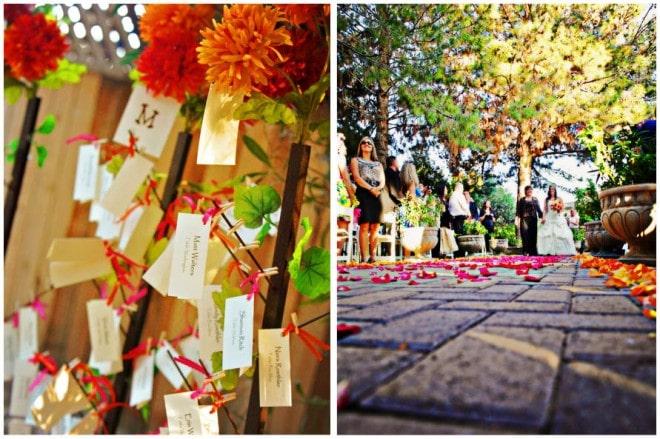 bright colorful wedding florals