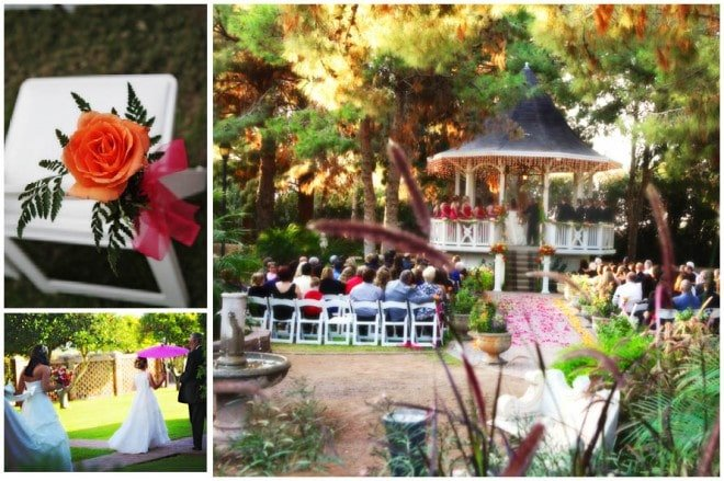 bright colorful gazebo wedding
