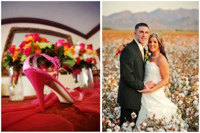 cotton field wedding bright pink shoes
