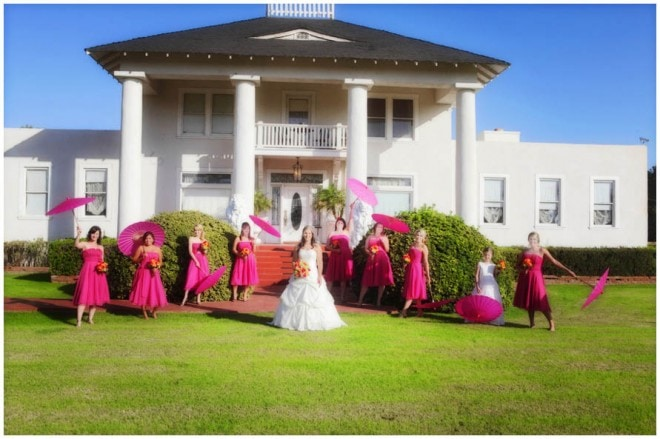 hot pink wedding parasols