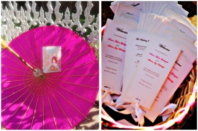 hot pink wedding parasols and programs
