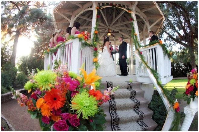 colorful wedding florals