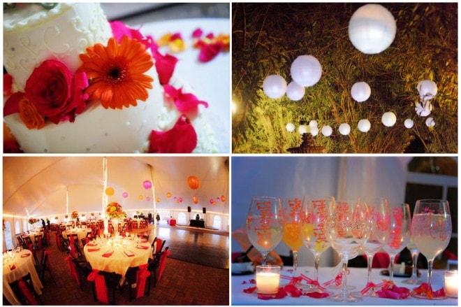colorful gerber daisies at wedding