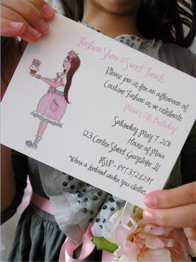 pink glitter party invitation