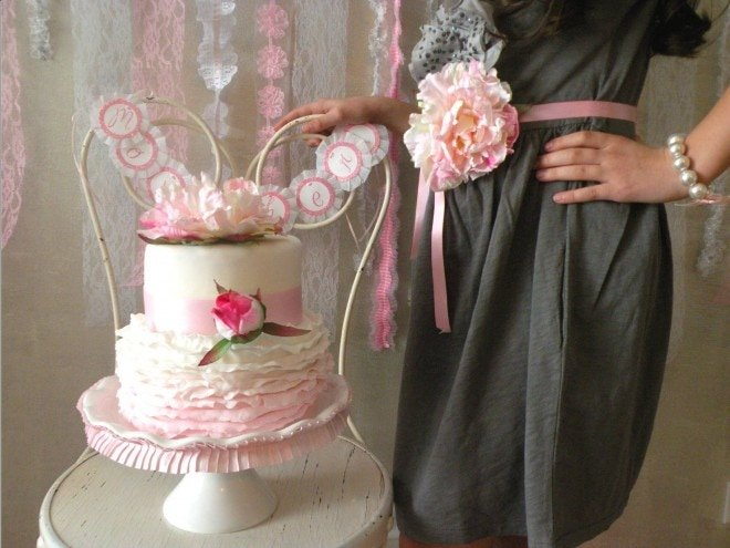 pink ruffled birthday party cake