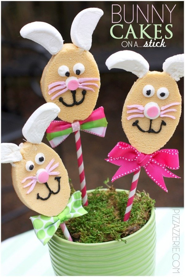 easter bunny cakelets on a stick diy tutorial