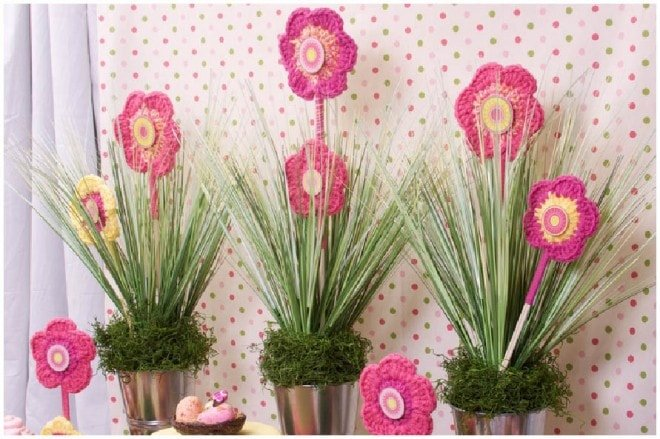 pink crocheted flower party