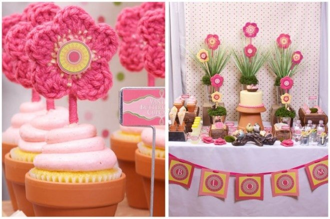 crocheted flower pink cupcake toppers