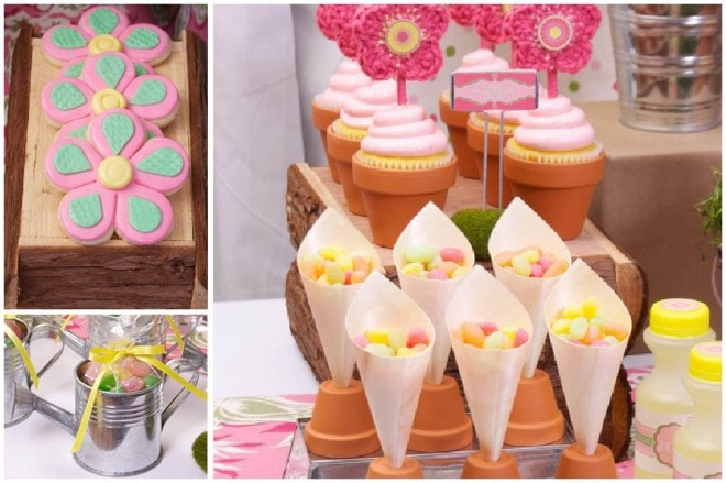 pink favor cones and flower cookies