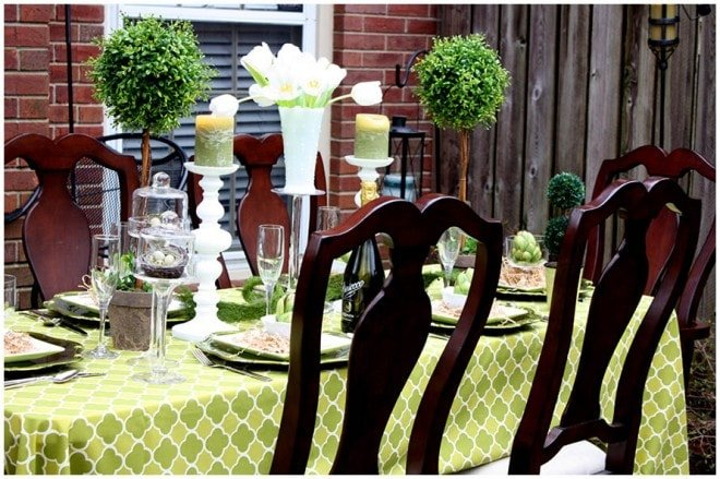 green outdoor dinner party tablescape