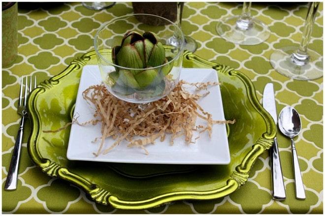 green artichoke table setting