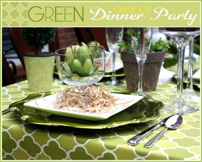 green outdoor dinner party quatrefoil